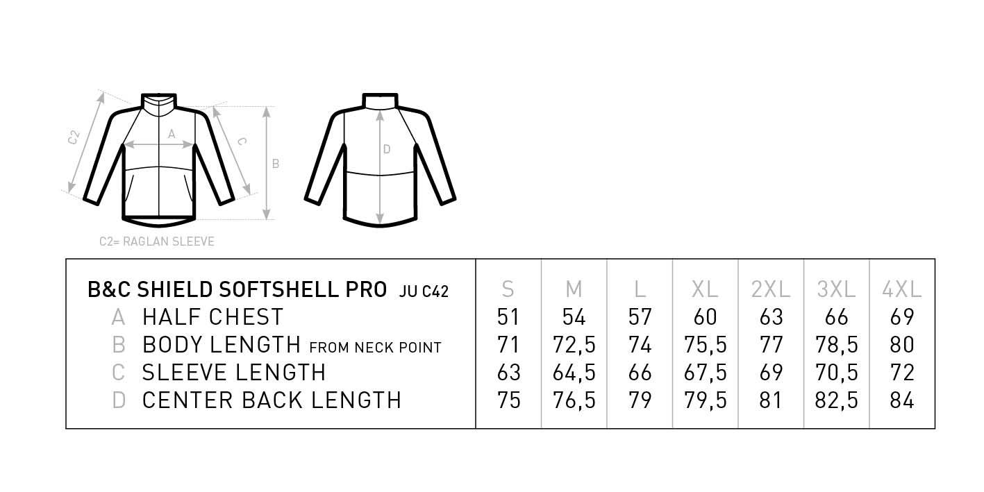 Grössentabelle GrössentabelleWorkwear Softshell Jacke B&C | Shield Softshell Pro