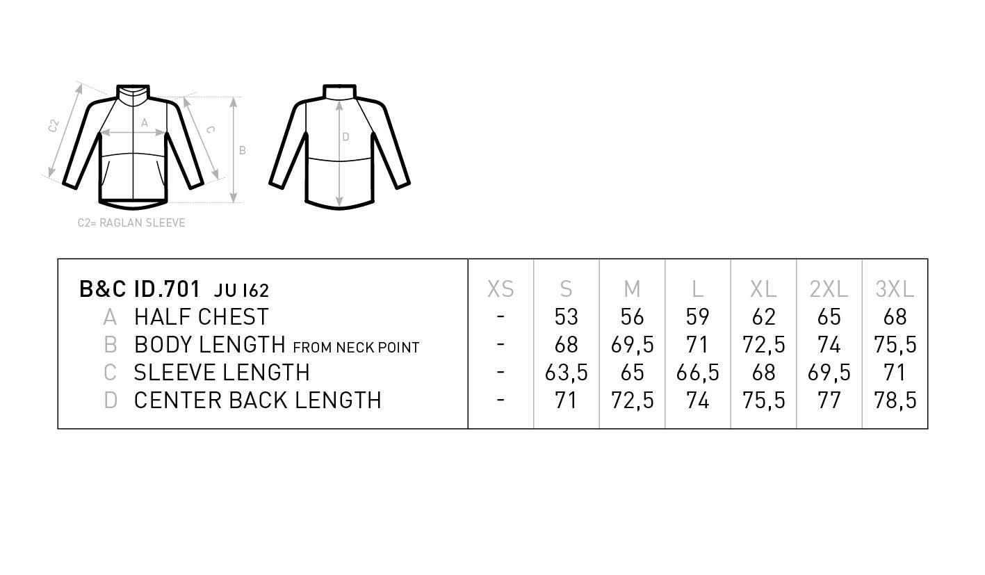 Grössentabelle GrössentabelleHerren 2-Lagen Softshell Jacke B&C | ID.701