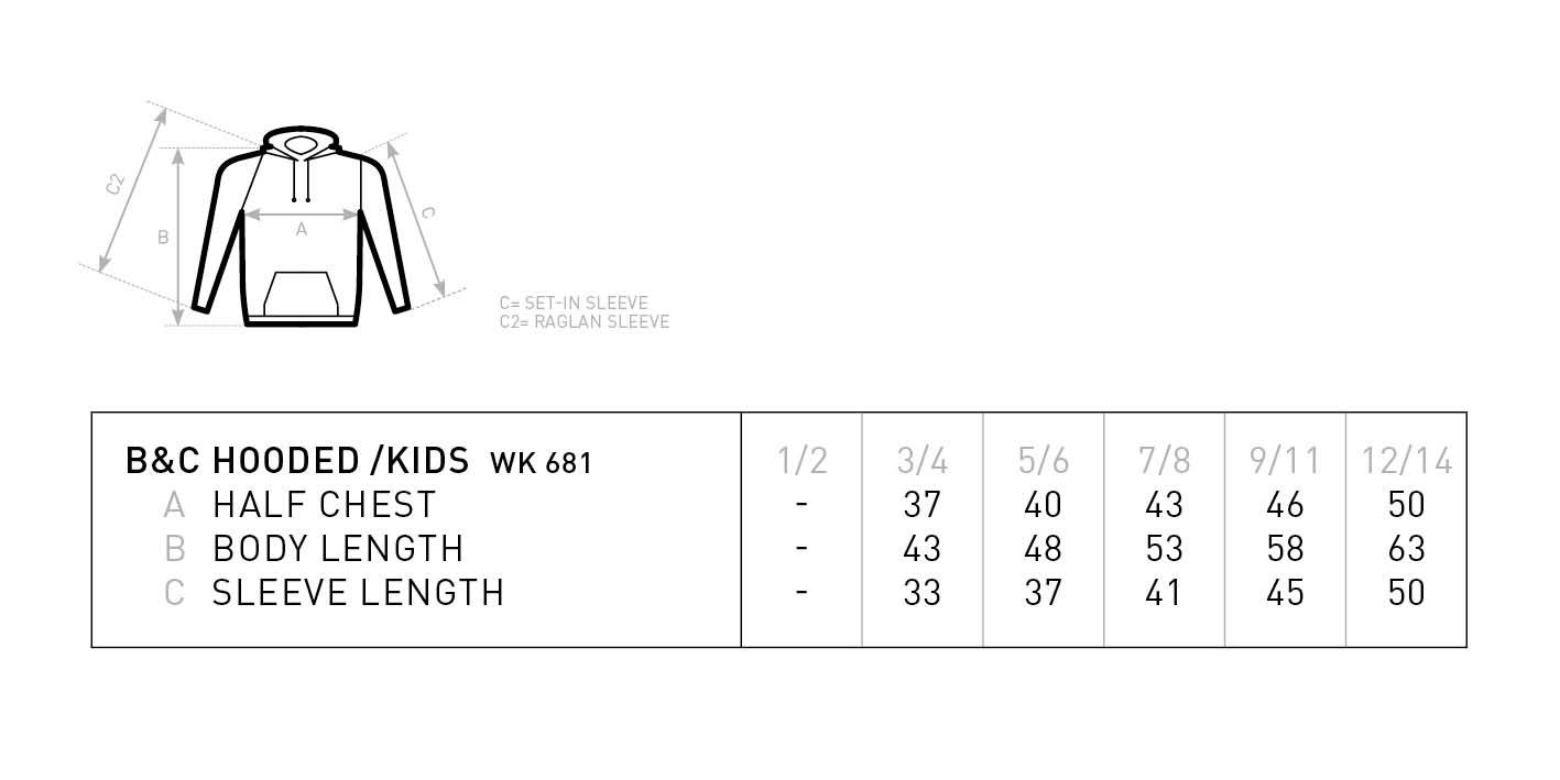 Grössentabelle GrössentabelleKinder Kapuzen Sweater B&C | Hooded /kids