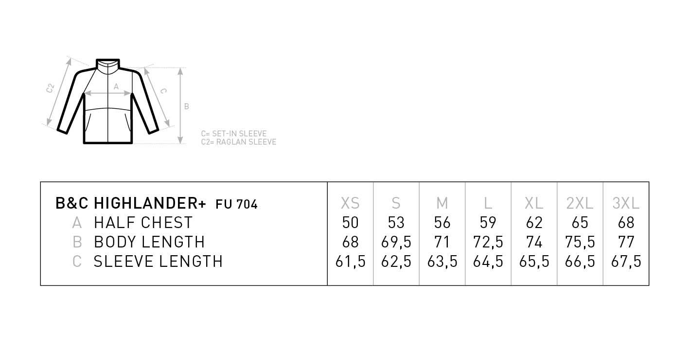 Grössentabelle GrössentabelleFleece Pullover mit 1/4 Zip B&C   Highlander +