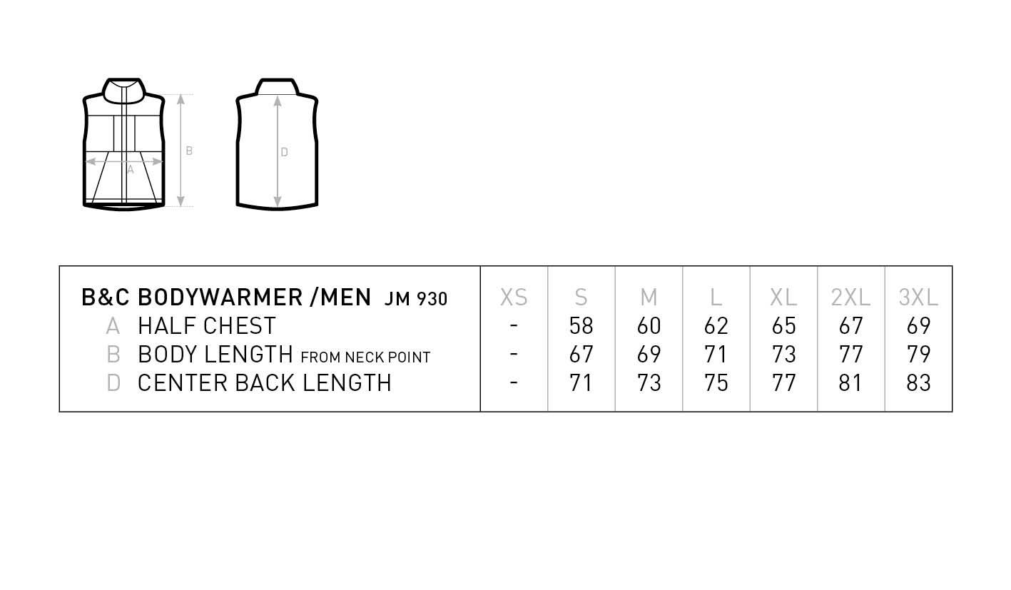 Grössentabelle GrössentabelleHerren Bodywarmer B&C | Bodywarmer /men