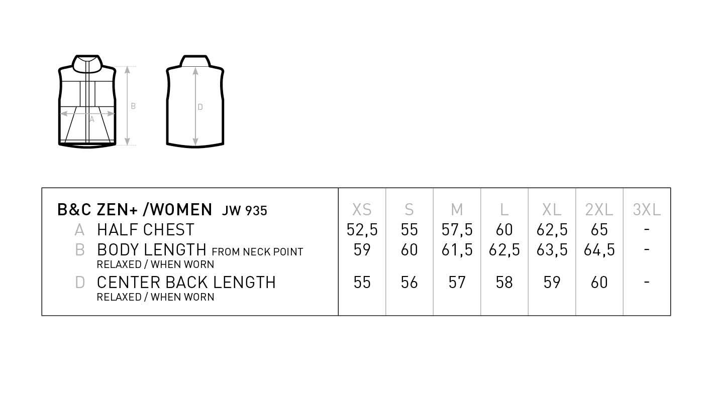 Grössentabelle GrössentabelleDamen Kapuzen Bodywarmer B&C | Zen + /women