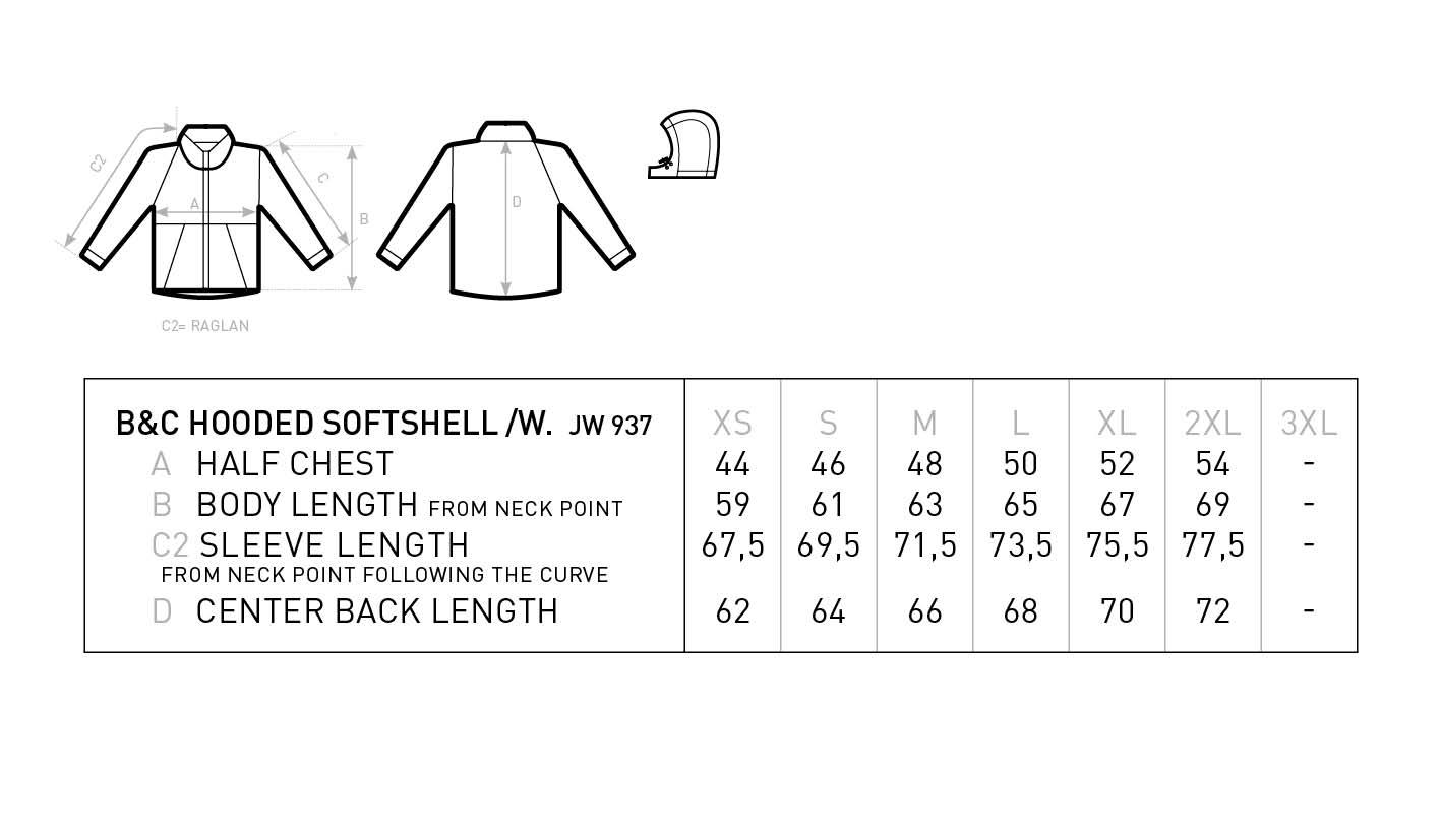 Grössentabelle GrössentabelleDamen 3-Lagen Kapuzen Softshell Jacke B&C | Hooded Softshell /women