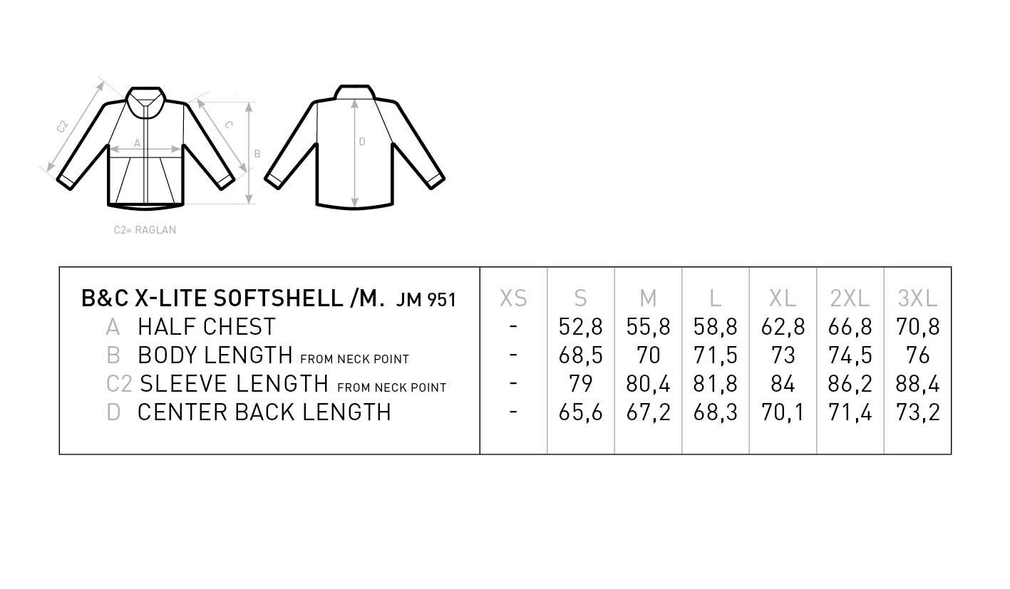 Grössentabelle B&C | X-Lite Softshell /men Ultraleichte Herren Softshell Jacke