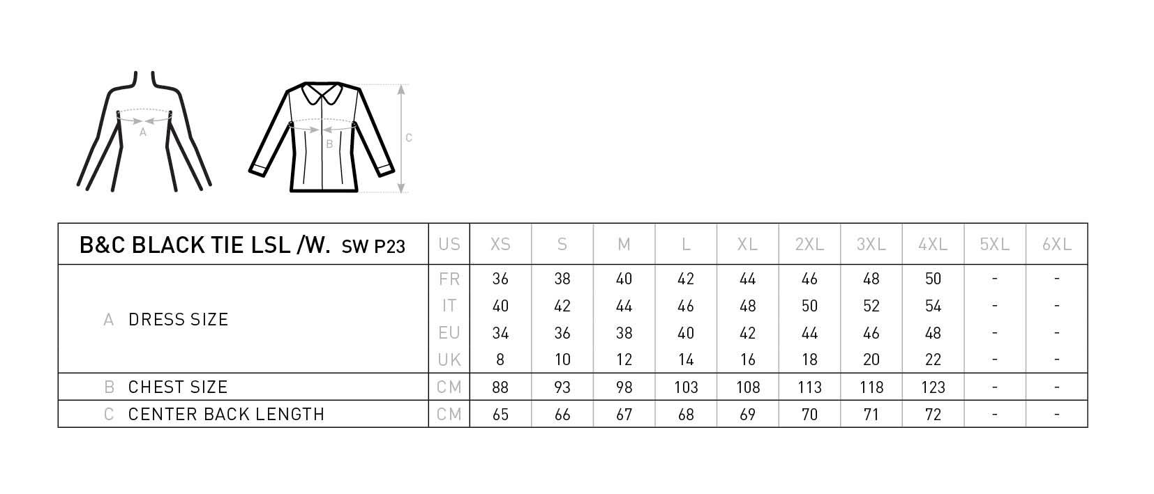 Grössentabelle GrössentabellePopeline Stretch Bluse langarm B&C | Black Tie LSL /women