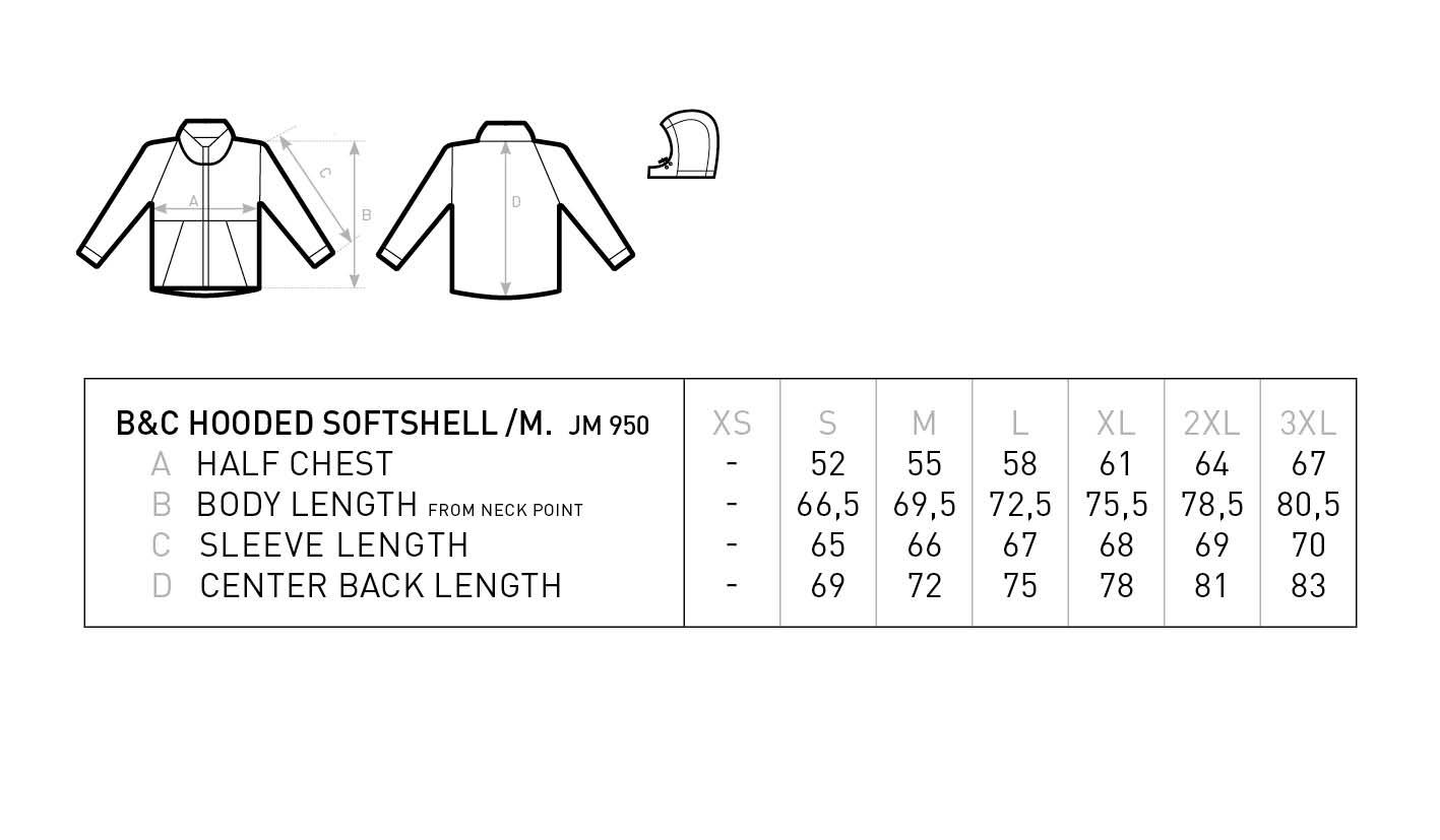 Grössentabelle GrössentabelleHerren 3-Lagen Kapuzen Softshell Jacke B&C | Hooded Softshell /men