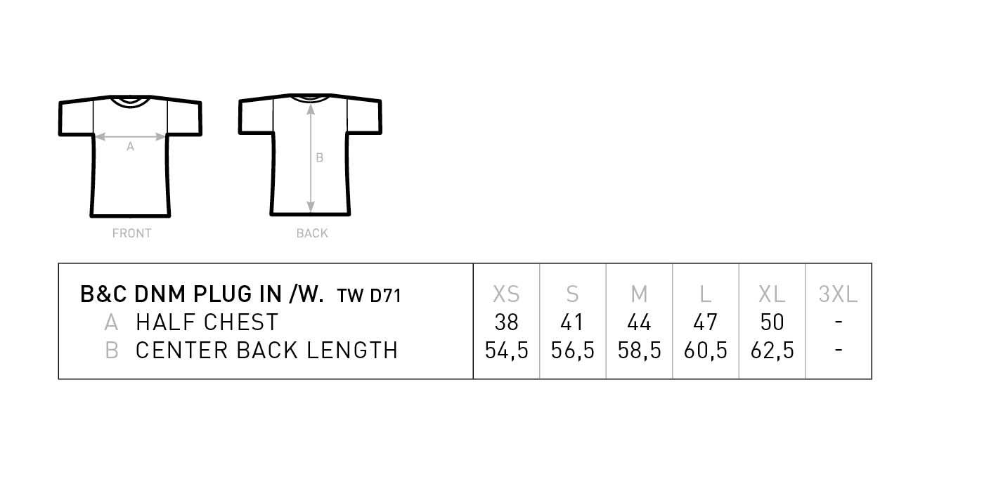 Grössentabelle GrössentabelleDamen Medium Fit T-Shirt B&C | DNM Plug In /women