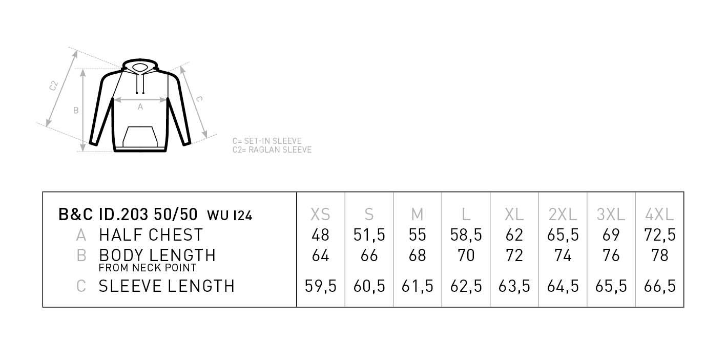 Grössentabelle GrössentabelleKapuzen Sweater B&C | ID.203 50/50
