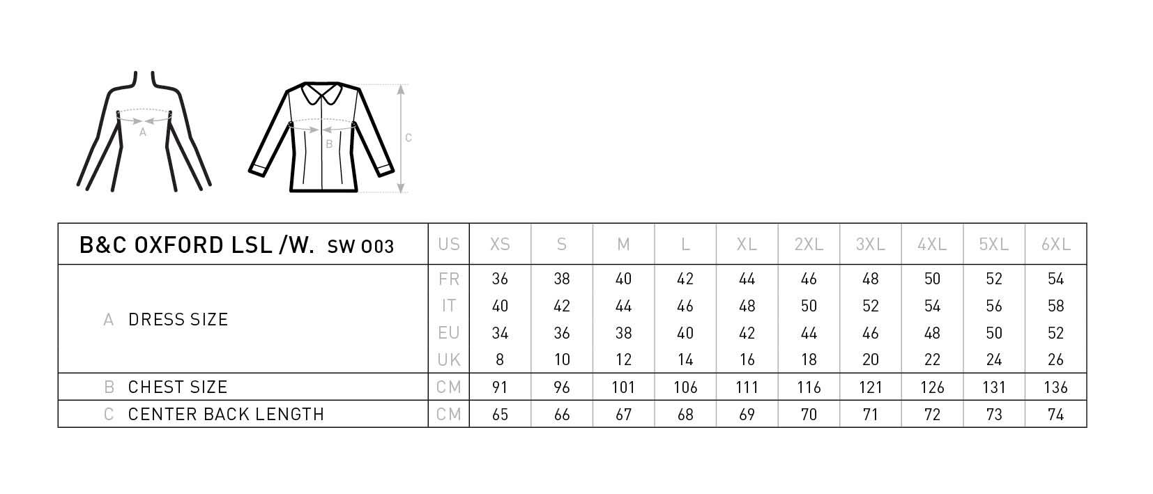 Grössentabelle GrössentabelleOxford Bluse langarm B&C | Oxford LSL /women