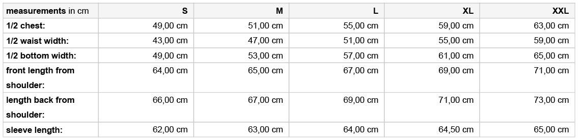Grössentabelle GrössentabelleDamen 3-LagenSoftshell Jacke m. abzippbaren Ärmeln James & Nicholson | JN 1121