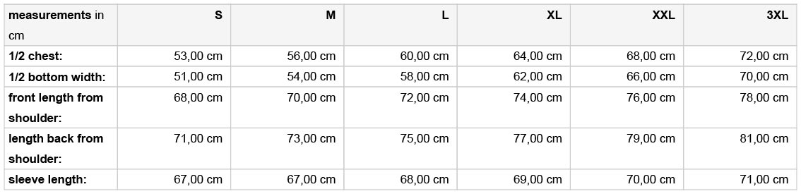 Grössentabelle GrössentabelleHerren 3-LagenSoftshell Jacke m. abzippbaren Ärmel James & Nicholson   JN 1122
