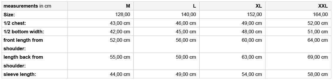 Grössentabelle GrössentabelleKinder 3-Lagen Softshell Jacke James & Nicholson | JN 135K