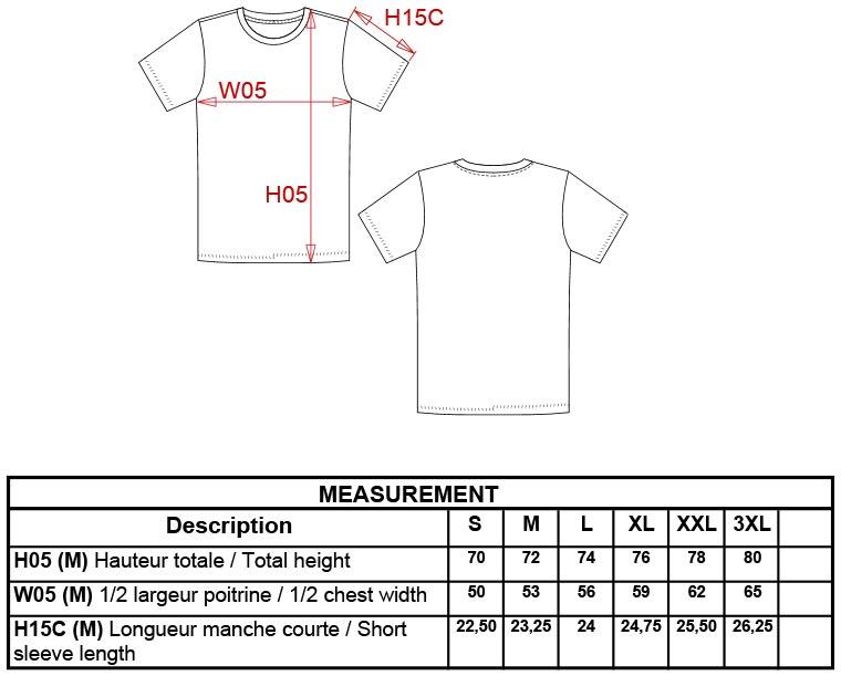 Grössentabelle GrössentabelleHerren T-Shirt Supima® Kariban | K3000