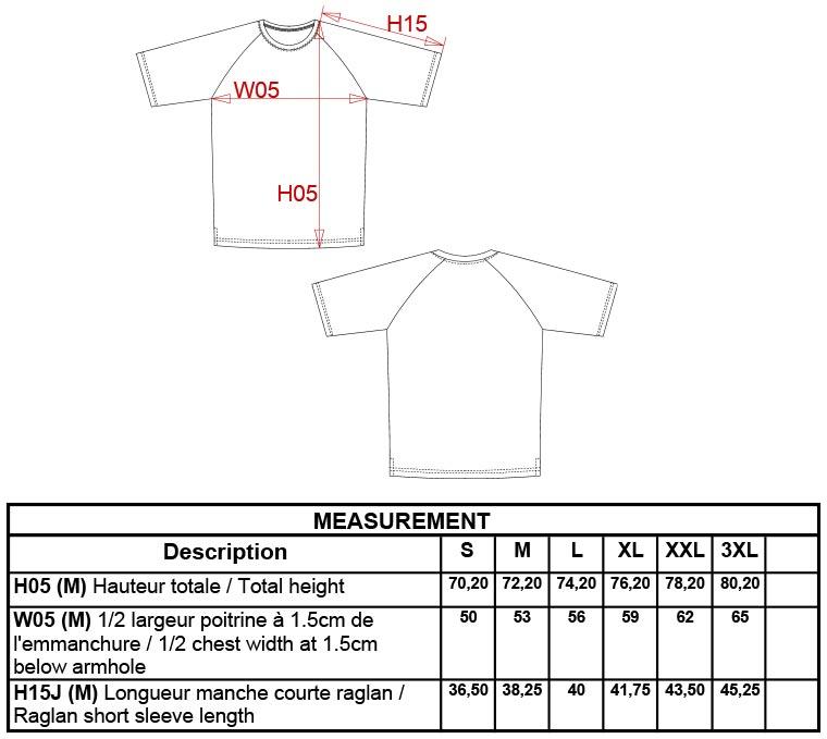 Grössentabelle GrössentabelleBaseball T-Shirt Kariban   K330