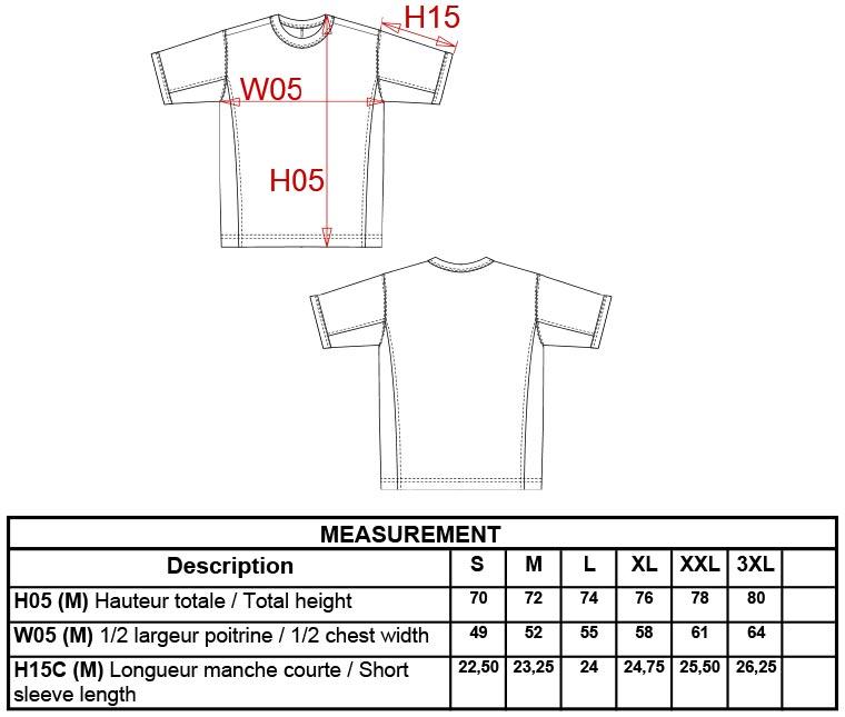 Grössentabelle Grössentabelle2-farbiges T-Shirt