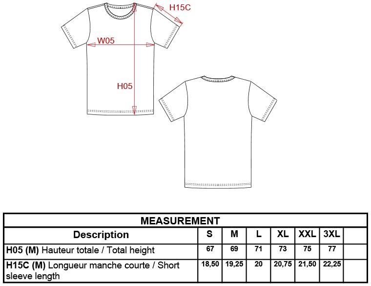 Grössentabelle Kariban   K342 Herren Stretch T-Shirt