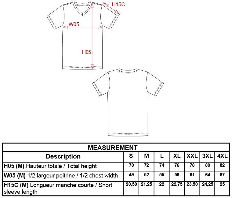 Grössentabelle GrössentabelleHerren V-Neck T-Shirt Kariban | K357