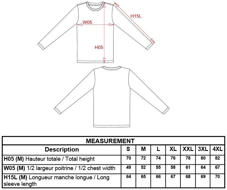 Grössentabelle GrössentabelleHerren T-Shirt langarm Kariban | K359