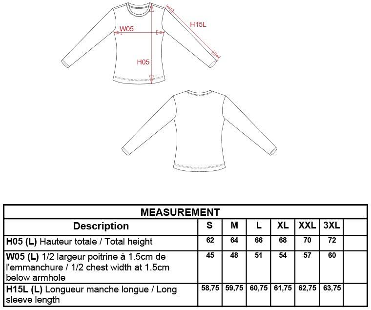 Grössentabelle GrössentabelleDamen T-Shirt langarm Kariban | K383