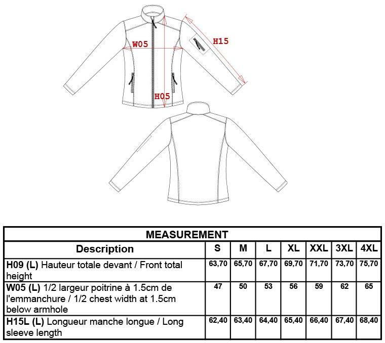 Grössentabelle GrössentabelleDamen 3-Lagen Softshell Jacke Kariban   K400