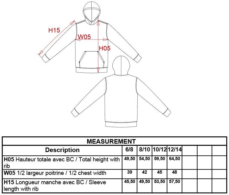 Grössentabelle GrössentabelleKinder Kontrast Kapuzen Sweater Kariban | K453