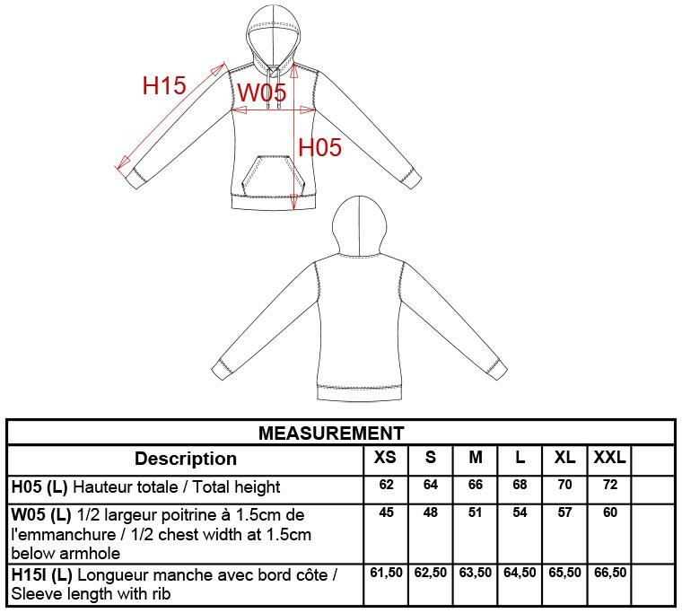 Grössentabelle Kariban | K465 Damen Kontrast Kapuzen Sweater