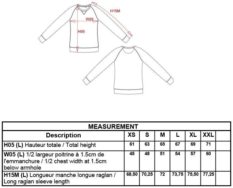 Grössentabelle GrössentabelleDamen Organic Raglan Sweater Kariban | K481