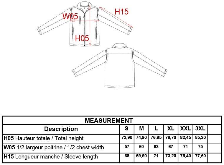 Grössentabelle Grössentabelle2-in-1 Jacke mit abnehmbaren Ärmeln Kariban | K639