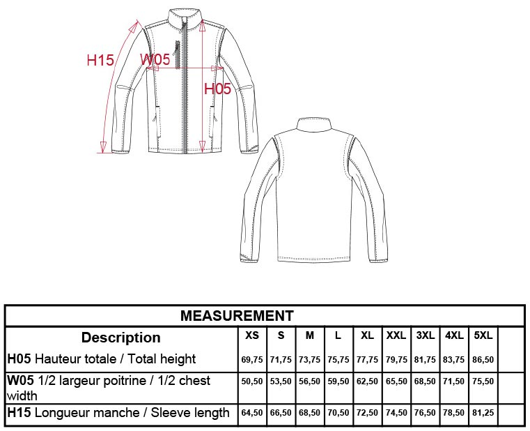 Grössentabelle Grössentabelle3-Lagen Softshell Jacke mit abnehmbaren Ärmeln Kariban ProAct | PA323
