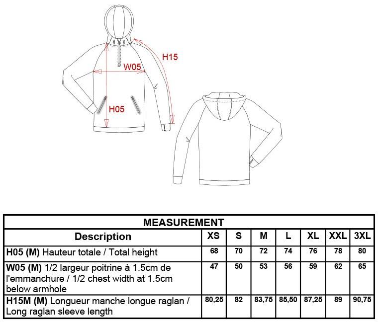 Grössentabelle GrössentabelleSport Sweatshirt mit 1/4 Zip Kariban ProAct | PA360