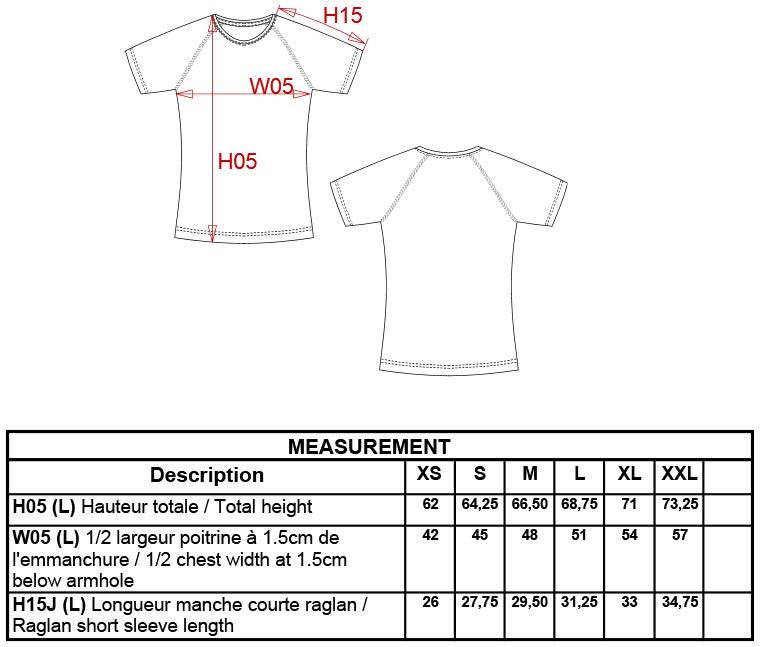Grössentabelle GrössentabelleDamen Sport Shirt Kariban ProAct   PA439