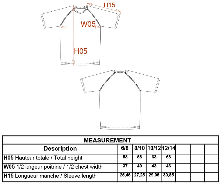 Grössentabelle GrössentabelleKinder Sport Shirt Kariban ProAct   PA445