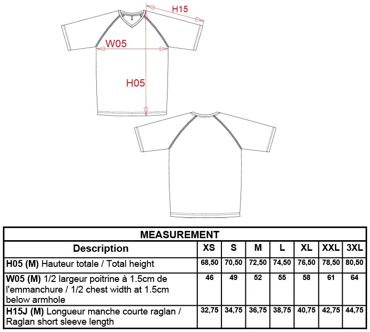 Grössentabelle GrössentabelleHerren V-Neck Sport T-Shirt Kariban ProAct | PA476