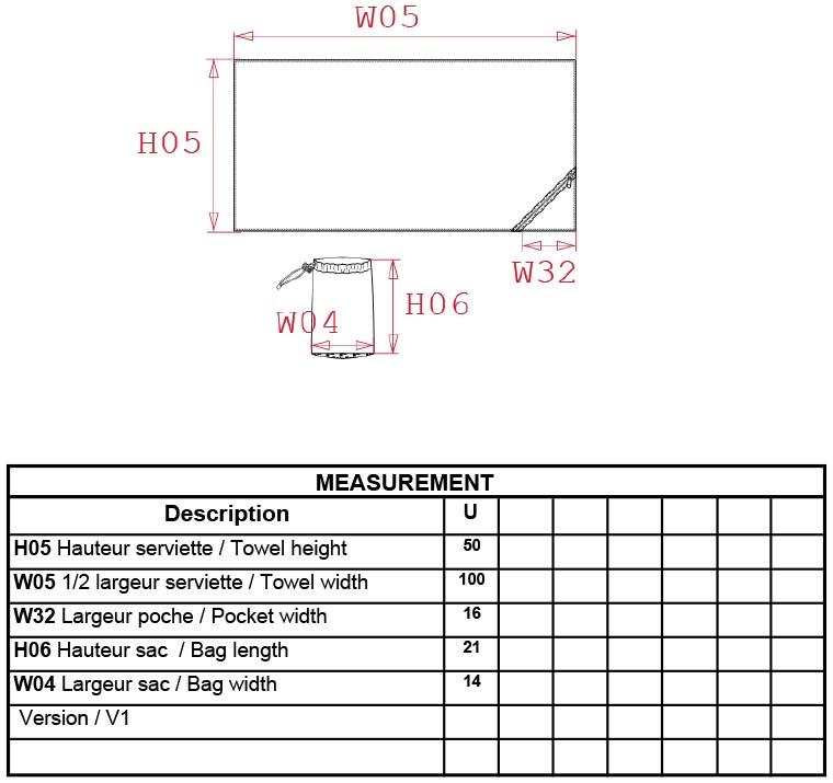 Grössentabelle Kariban ProAct | PA576 Microfaser Handtuch mit Tasche