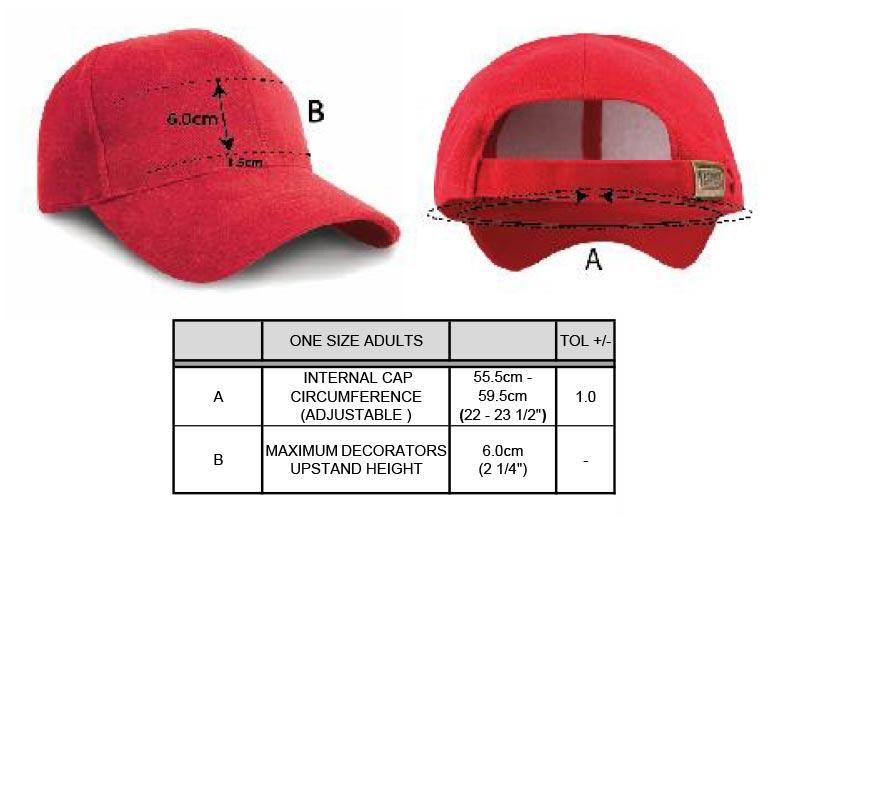 Grössentabelle GrössentabellePro Style Kappe Result Headwear | RC025X