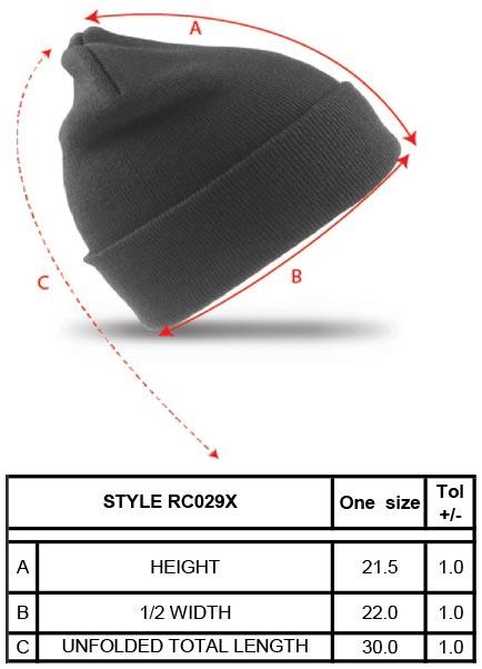 Grössentabelle GrössentabelleStrickmütze Result Winter Essentials | RC029X