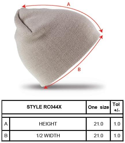 Grössentabelle GrössentabelleStrick Beanie Result Winter Essentials   RC044X