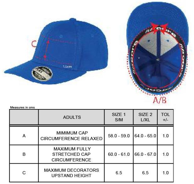 Grössentabelle Grössentabelle6 Panel Flex Kappe Result Headwear   RC085X
