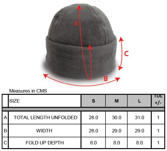 Grössentabelle Result Winter Essentials | RC141X Fleece Mütze mit Umschlag