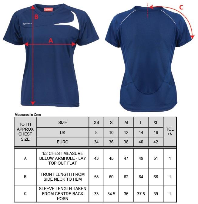 Grössentabelle GrössentabelleDamen Trainings Shirt Spiro   S182F