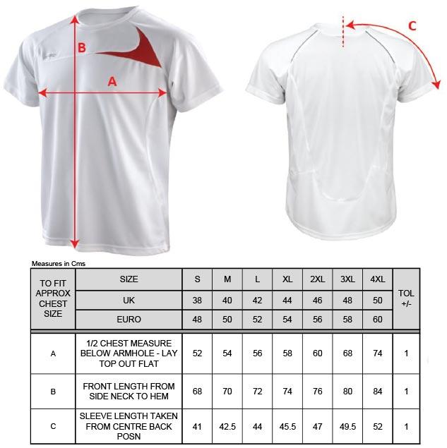 Grössentabelle GrössentabelleHerren Trainings Shirt Spiro | S182M