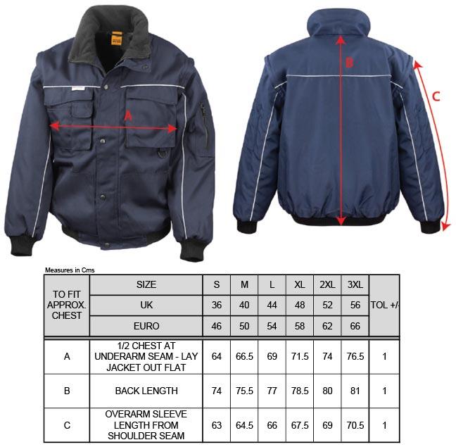 Grössentabelle GrössentabelleArbeitsjacke mit abnehmbaren Ärmeln Result Work-Guard | R071X