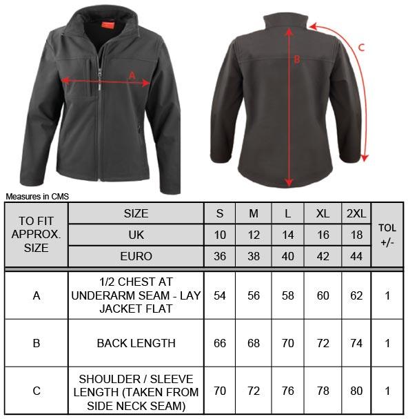 Grössentabelle GrössentabelleDamen 3-Lagen Softshell Jacke Result   R121F