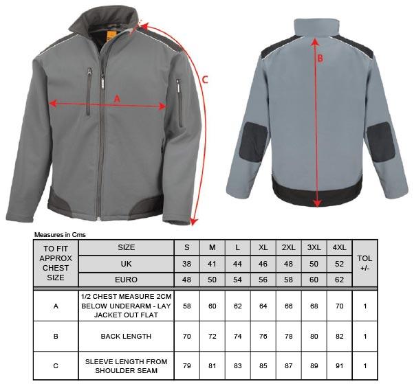 Grössentabelle Result Work-Guard   R124X 3-Lagen Softshell Ripstop Workwear Jacke