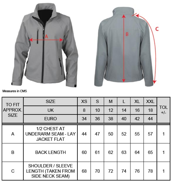Grössentabelle GrössentabelleDamen 2-Lagen Softshell Jacke Result   R128F