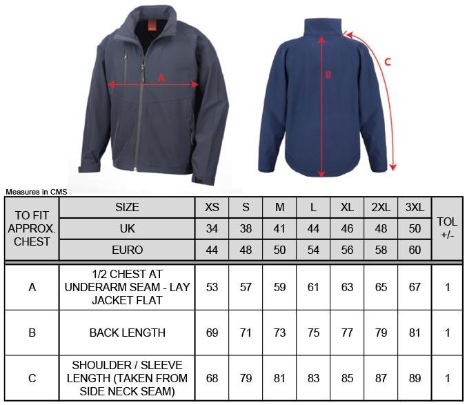 Grössentabelle Grössentabelle2-Lagen Softshell Jacke Result | R128M