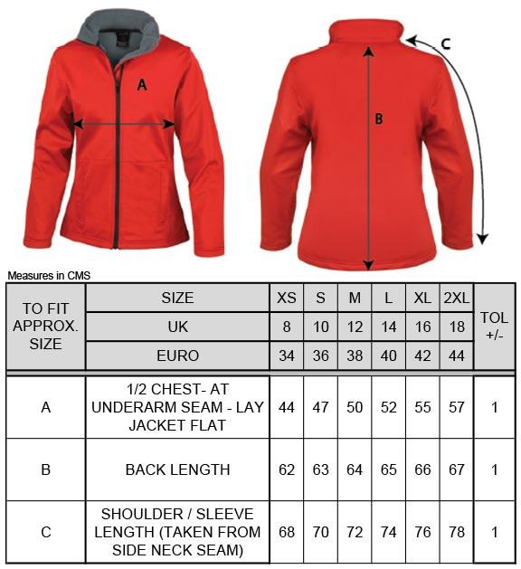 Grössentabelle Grössentabelle3-Lagige Damen Softshell Jacke Result Core | R209F