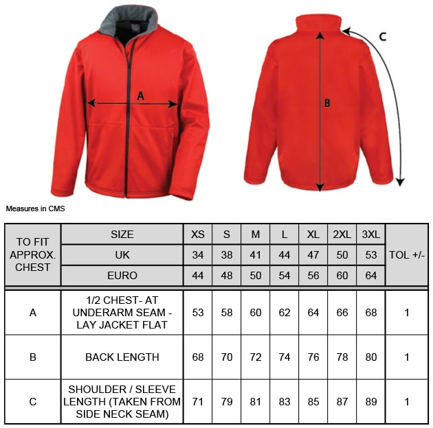 Grössentabelle Grössentabelle3-Lagen Softshell Jacke Result Core | R209M