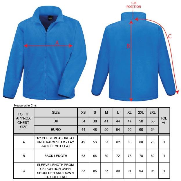 Grössentabelle GrössentabelleHerren Fashion Fit Outdoor Fleece Jacke Result Core | R220M