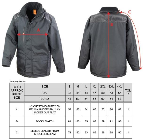 Grössentabelle GrössentabelleVostex Workwear Parka Result Work-Guard | R305X